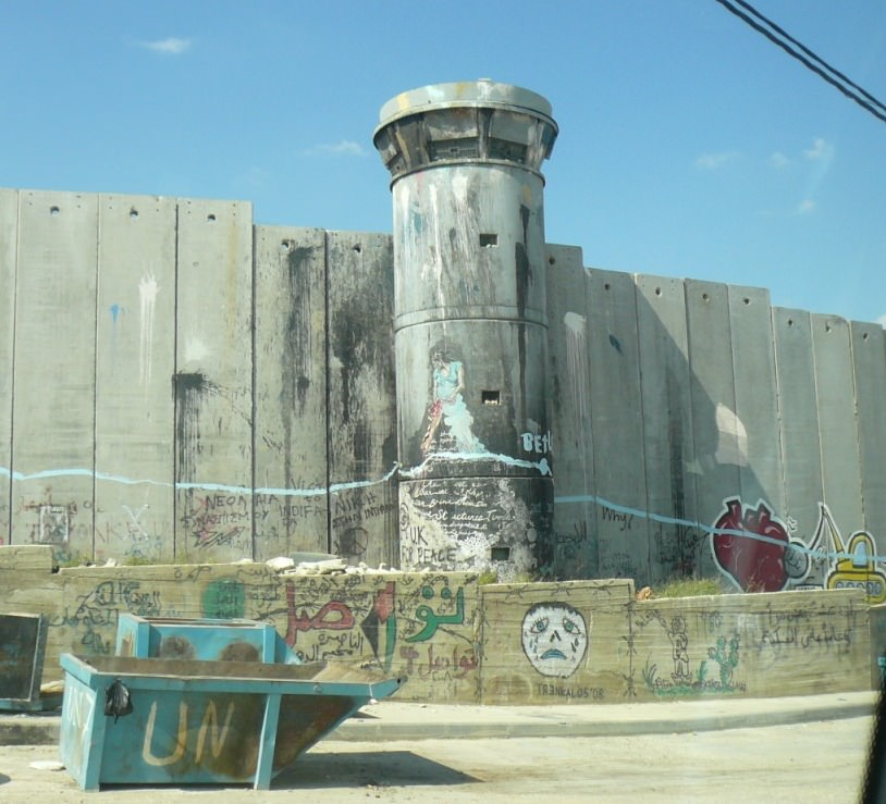 Site at Bethlehem UN Refugee camp, where the Palestinians were ordered to tear down the Pope's dias, because it was too close to the wall.